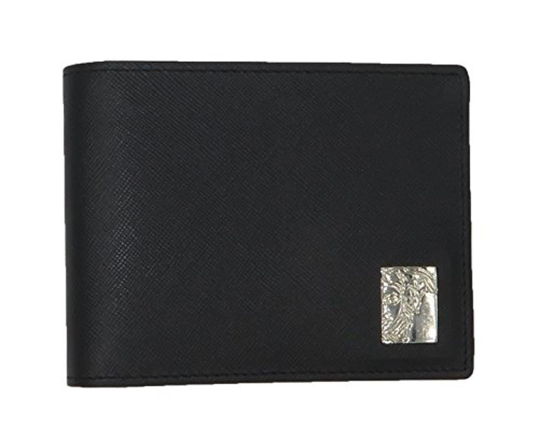 VERSACE COLLECTION Men/'s Black Saffiano Leather Medusa Logo Bifold Wallet