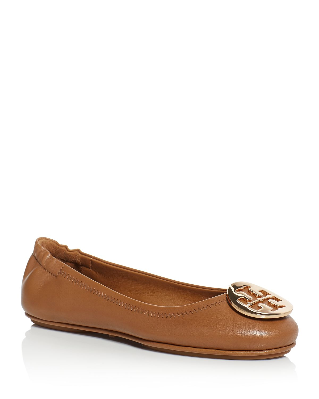 7babb52c068a Tory Burch Minnie Travel Ballet Logo Shoes Royal Tan Gold Brown ...