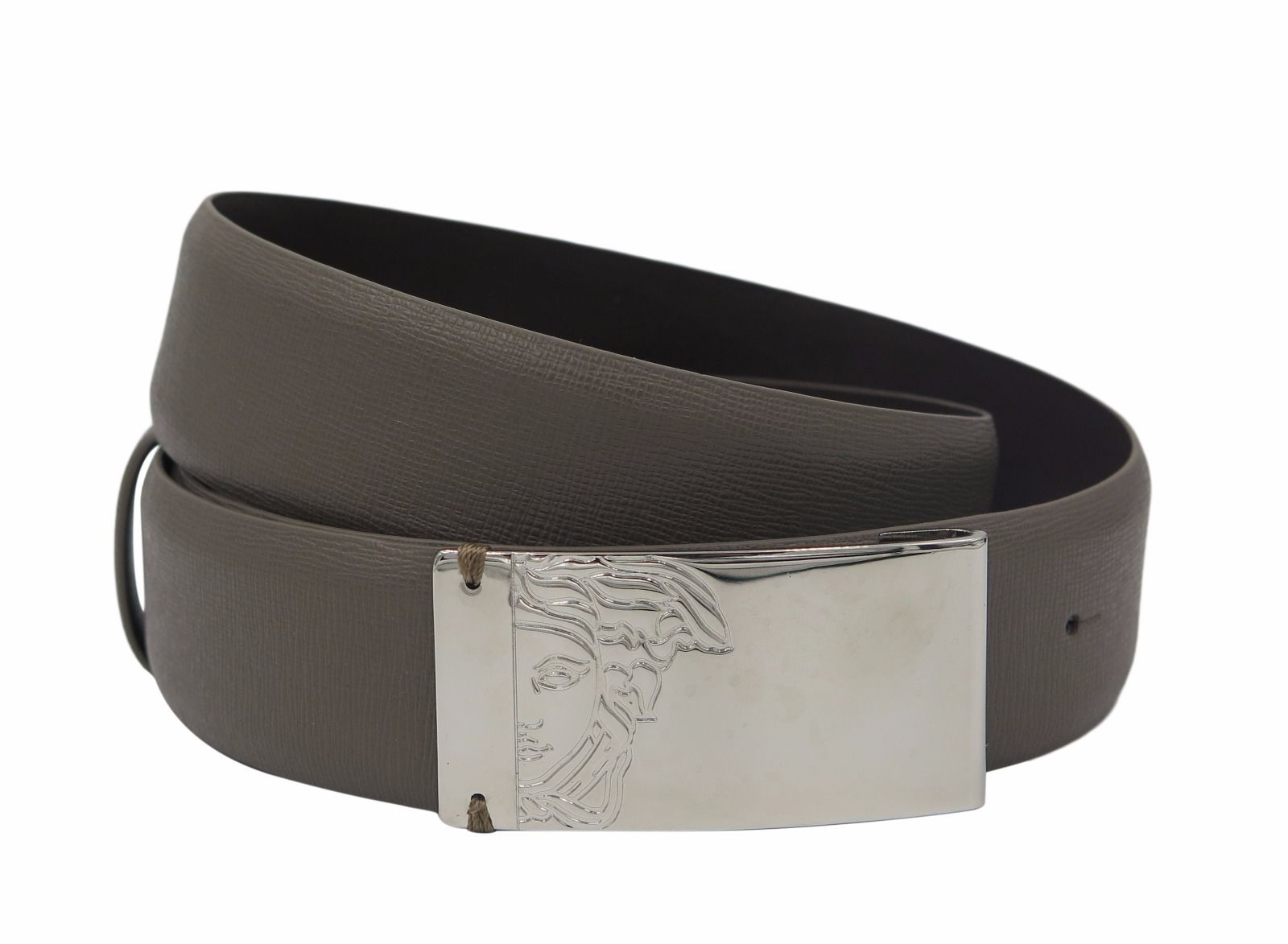 VERSACE COLLECTION Men/'s Taupe Brown Saffianio Leather Medusa Buckle Belt 158