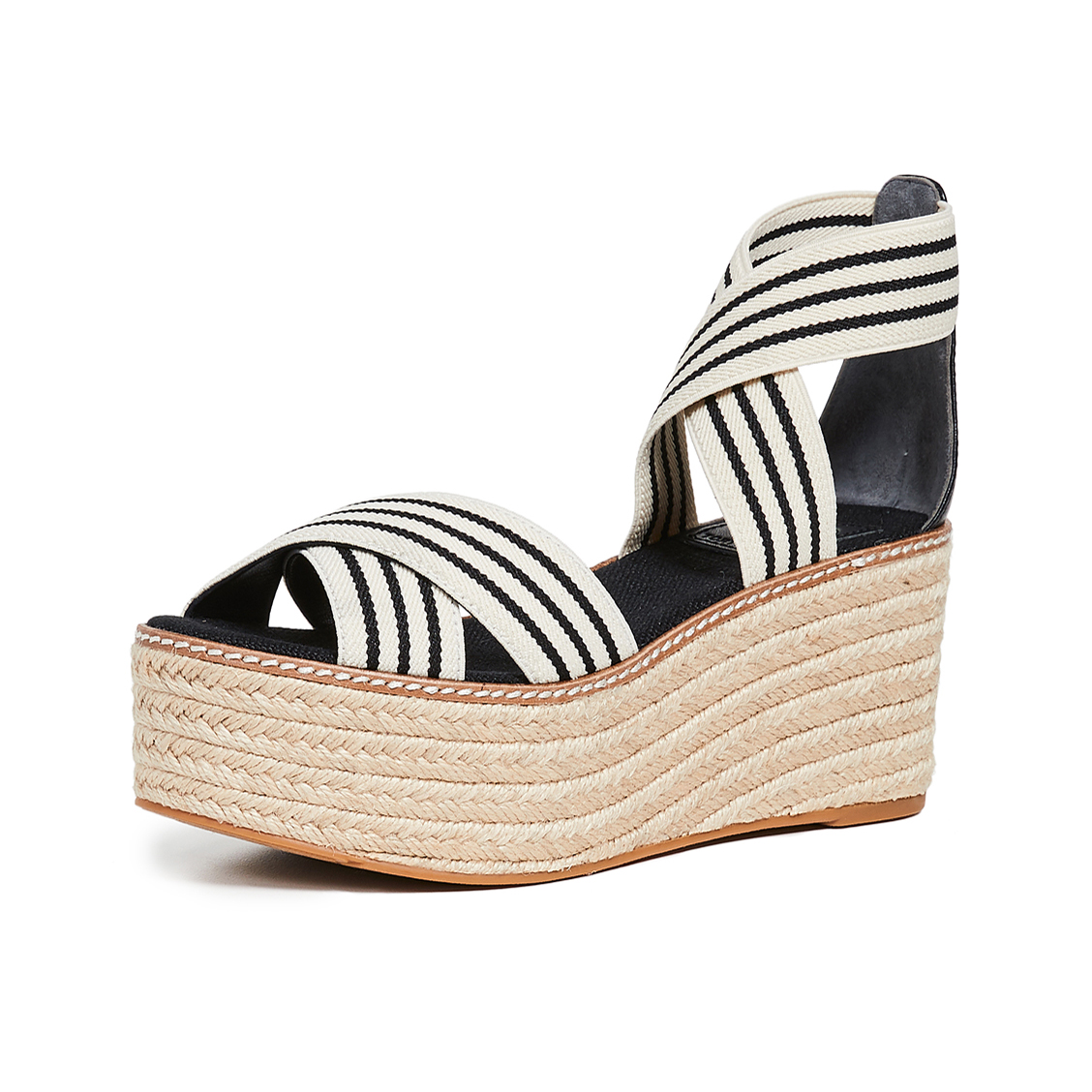 677fa67b7ce Details about Tory Burch Women s Frieda Black White Strappy Woven Espadrilles  Wedge Platforms