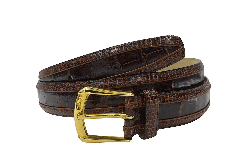 Brioni Mens Medium Brown Leather Logo Gold Buckle Belt