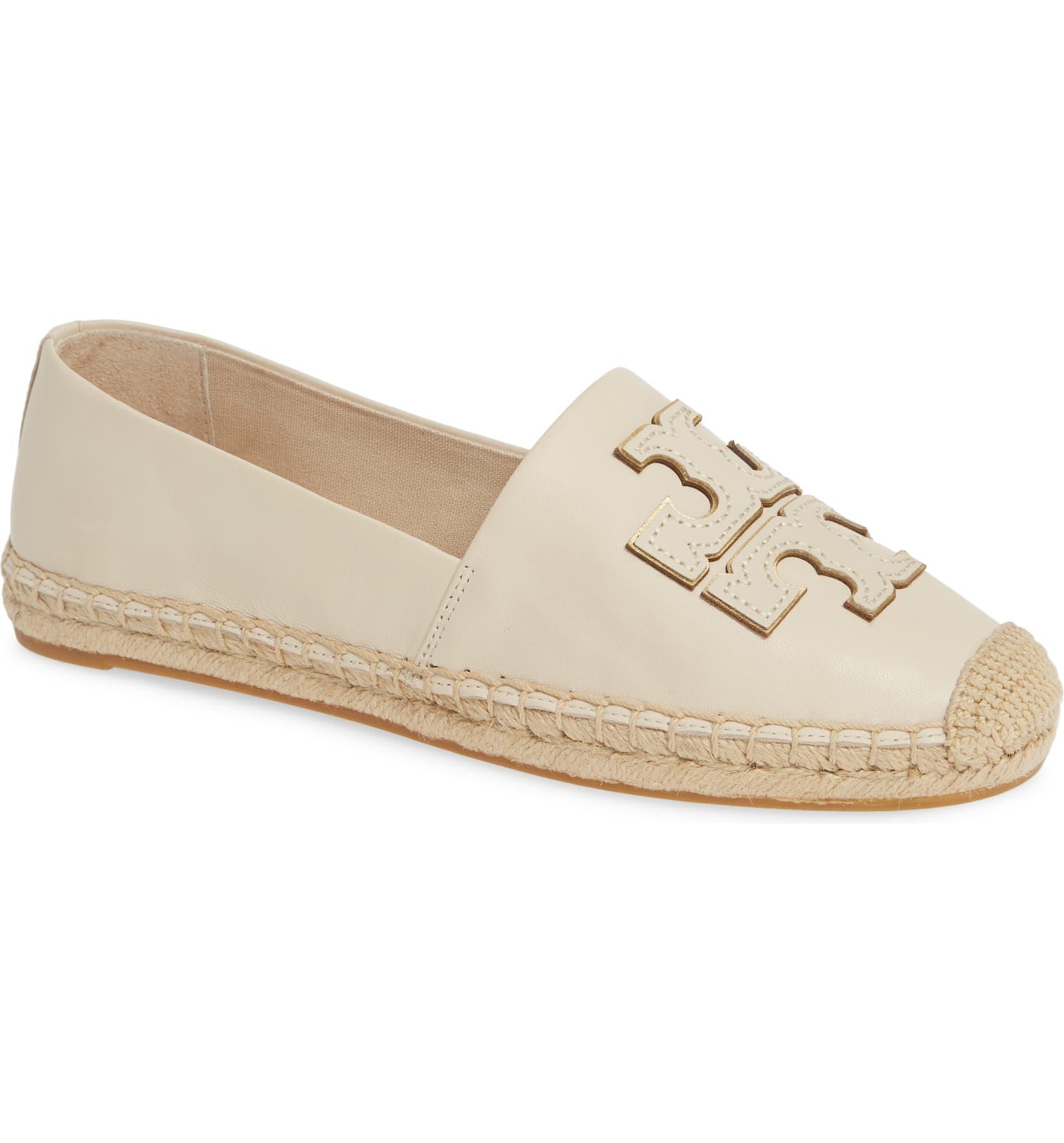 Cream Gold Flats Shoes