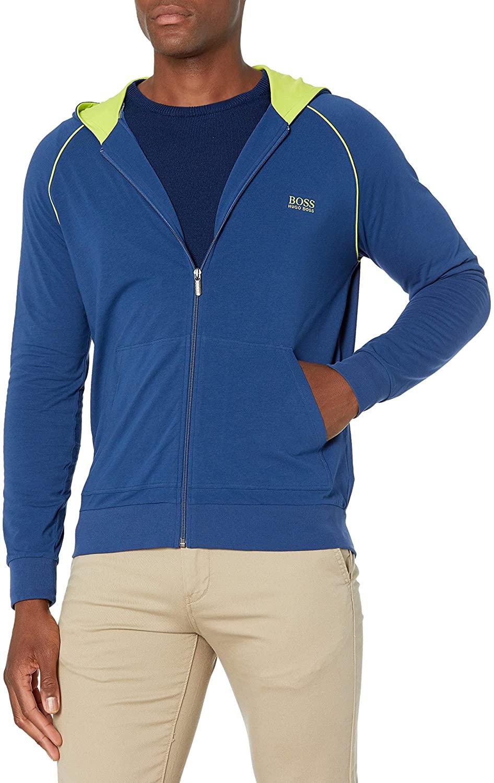 HUGO BOSS Men/'s Jacket Track Warm-Up Hoodie Navy blue Full Zip Cotton NWT NEW